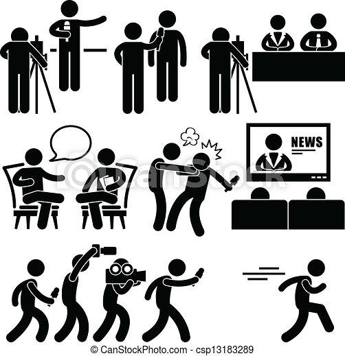newsroom, nouvelles, femme, ancre, journaliste - csp13183289