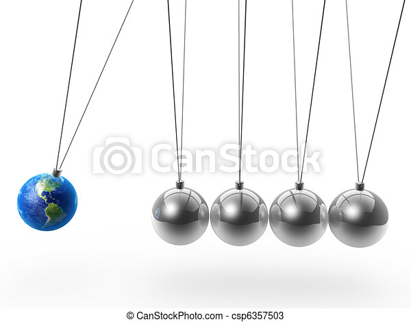 newton's cradle and earth - csp6357503