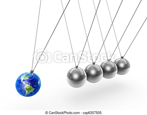 newton's cradle and earth - csp6357505