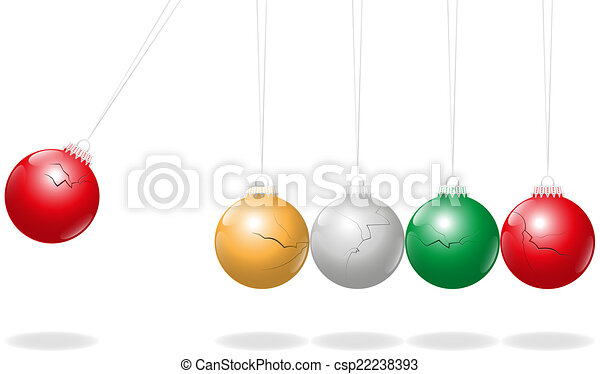 Newtons Cradle Christmas Balls - csp22238393