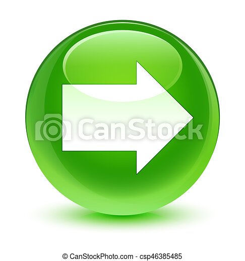 Next arrow icon glassy green round button - csp46385485