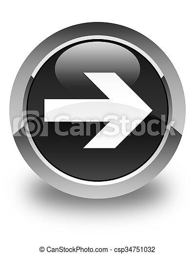 Next arrow icon glossy black round button - csp34751032