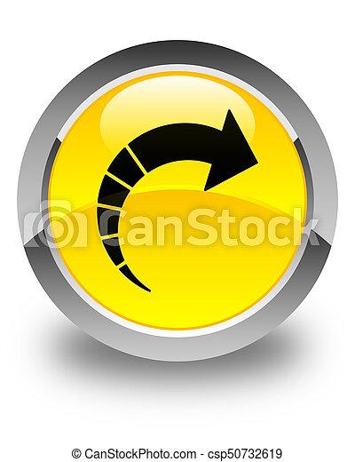 Next arrow icon glossy yellow round button - csp50732619