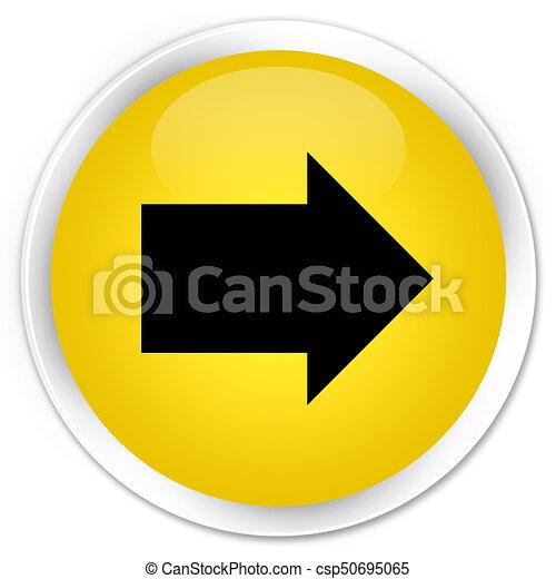 Next arrow icon premium yellow round button - csp50695065