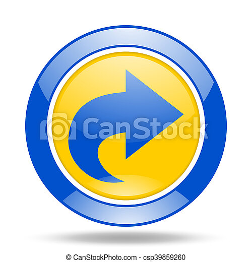 next blue and yellow web glossy round icon - csp39859260