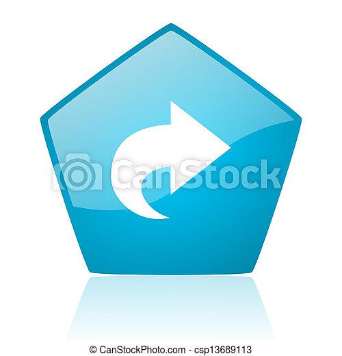 next blue pentagon web glossy icon - csp13689113