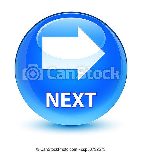 Next glassy cyan blue round button - csp50732573