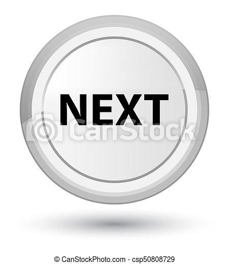 Next prime white round button - csp50808729