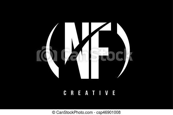 NF N F White Letter Logo Design With Black Background