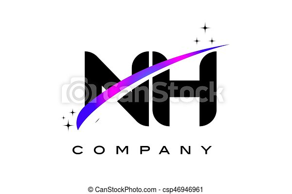 Nh N H Black Letter Logo Design With Purple Magenta Swoosh And Stars