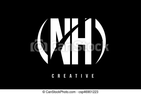 Nh N H White Letter Logo Design With Black Background Nh N H White