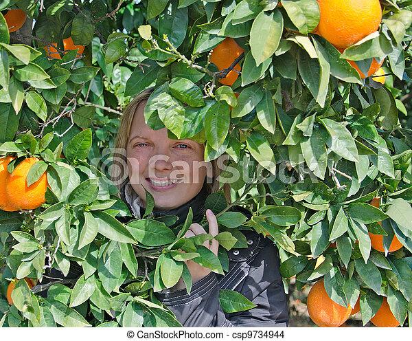 Chica en árbol con naranjas maduras - csp9734944