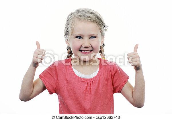 Chica mostrando pulgares arriba - csp12662748