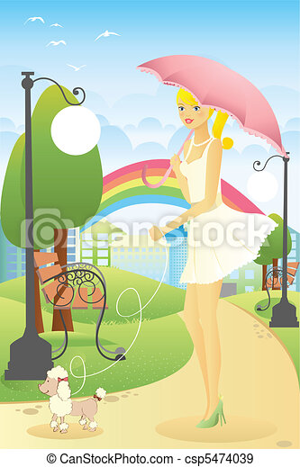 Una chica paseando a su perro - csp5474039