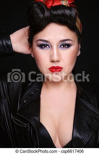 Nina Asiatico Rockabilly Hermoso Peinado Estilo Imaginacion