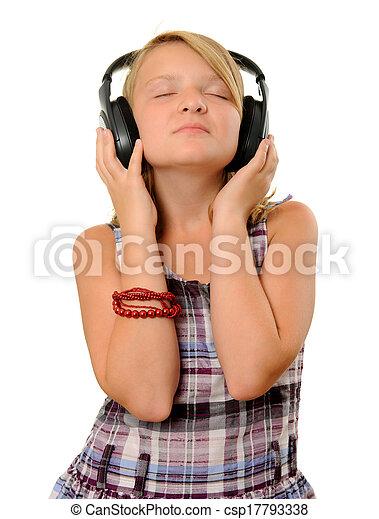 niña, auriculares - csp17793338