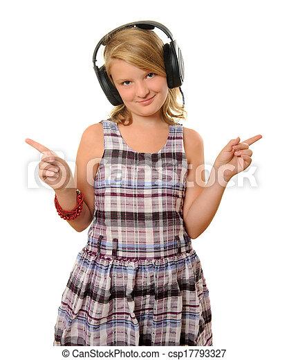 niña, auriculares - csp17793327