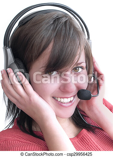 Una chica con auriculares - csp29956425