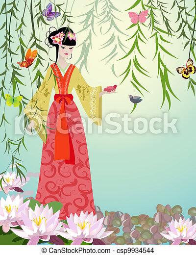 Chica china con pájaros - csp9934544
