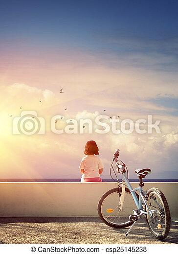 niña, bicicleta - csp25145238