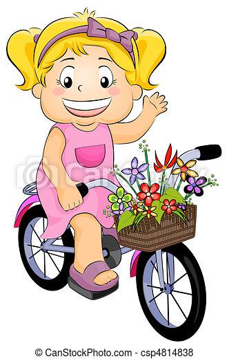 niña, bicicleta - csp4814838