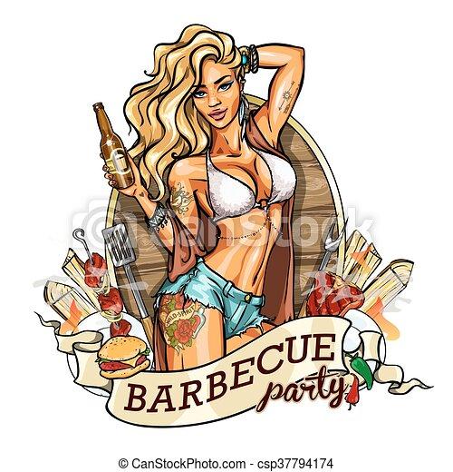 Una chica en bikini con una botella de cerveza. Etiqueta. - csp37794174