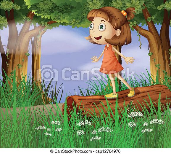Ilustracin vectorial de nia bosque  Illustration de un nia