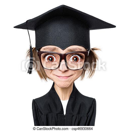 Estudiante Graduada De Dibujos Animados Estilo De Dibujos