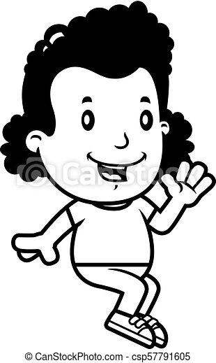La chica del cartón sentada - csp57791605
