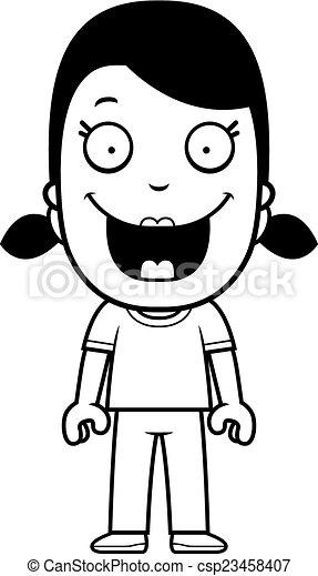 Una chica de dibujos animados sonriendo - csp23458407