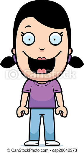 Una chica de dibujos animados sonriendo - csp20642373