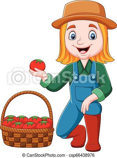 Chica de dibujos animados cosechando tomates - csp66438976