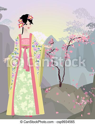 Un paisaje chino con una chica - csp9934565