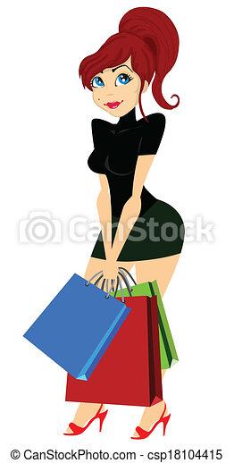 Chica de compras - csp18104415