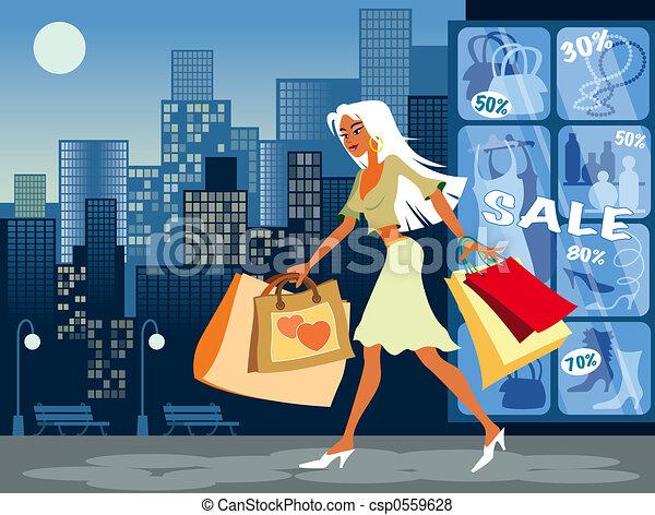Chica de compras - csp0559628