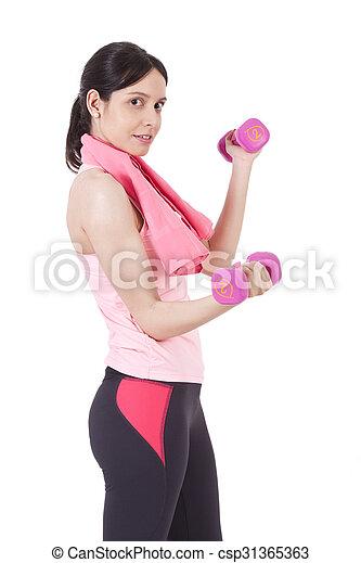 Chica con pesas - csp31365363