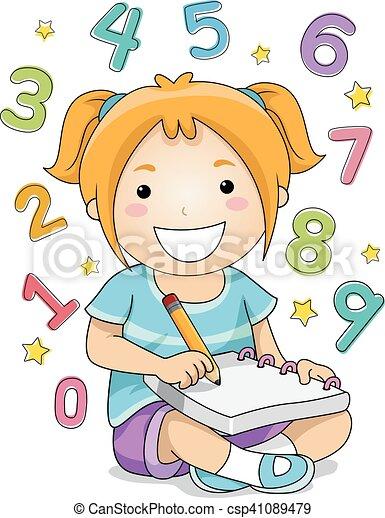 Niña, el solucionar, números, niño Matemático, poco