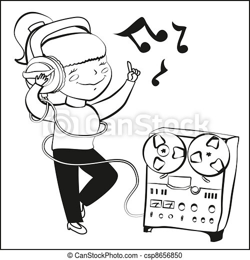 Clip art vectorial de nia escuchar msica dansing  nia