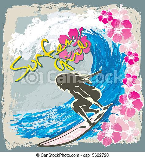 Espiritu de chica surfista - csp15622720