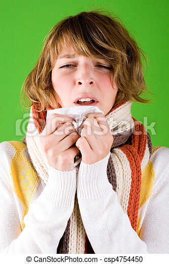 La chica estornuda - csp4754450