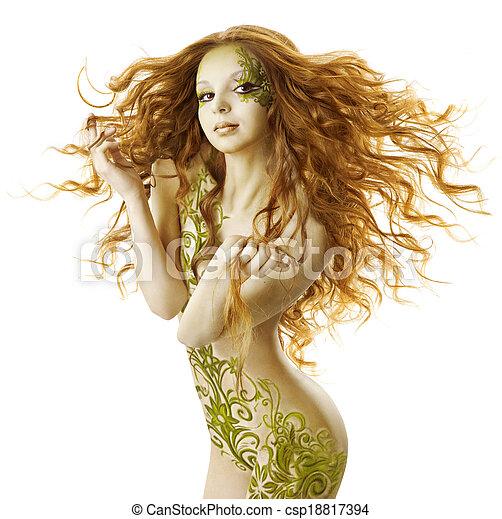 Estilo de fantasía de mujer sexy, maquillaje de moda sensual, chica de belleza desnuda con cabellos largos y arte corporal floral - csp18817394