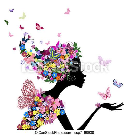 Una chica con flores y mariposas - csp7198930