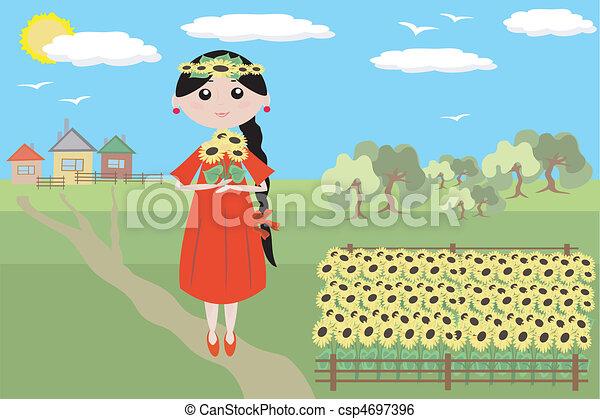 Chica con girasoles - csp4697396