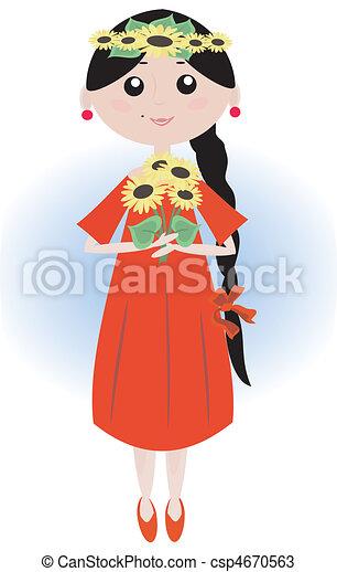 Una chica con girasoles - csp4670563