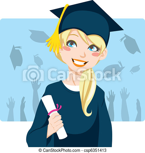 Niña Graduado Mujer Rubio Ella Diploma Graduación