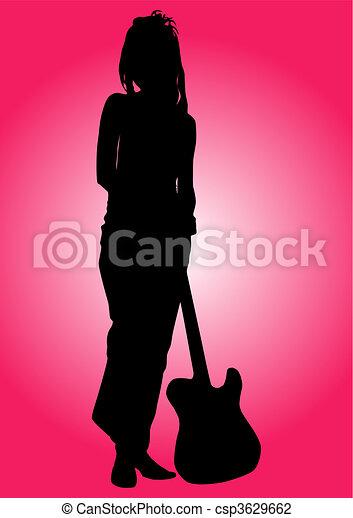 Una guitarrista - csp3629662