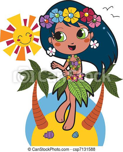 Chica hawaiana aloha - csp7131588