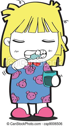 Una joven cepillándose los dientes - csp9006506
