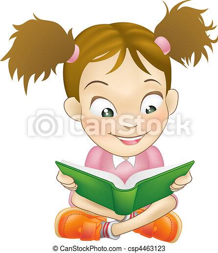 Chica ilustrada leyendo libros - csp4463123