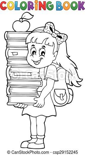 Niña, libros para colorear, libro, tenencia. Vector, colorido, eps10 ...